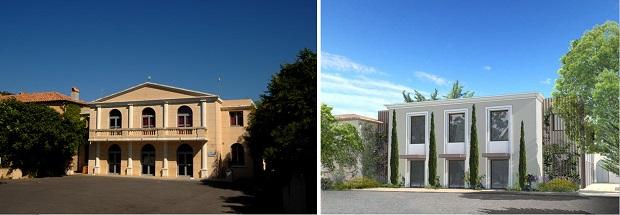 Avant/après (maquette) de l'extérieur (entrée) de la salle Marcel Pagnol