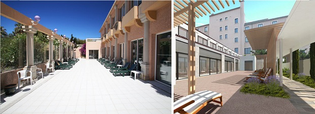 Avant/après (maquette) de l'espace d'accueil du centre de soins esthétiques du spa de l'Hôtel Hélios