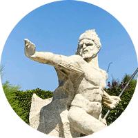 Statue Neptune sur l'île de Bendor