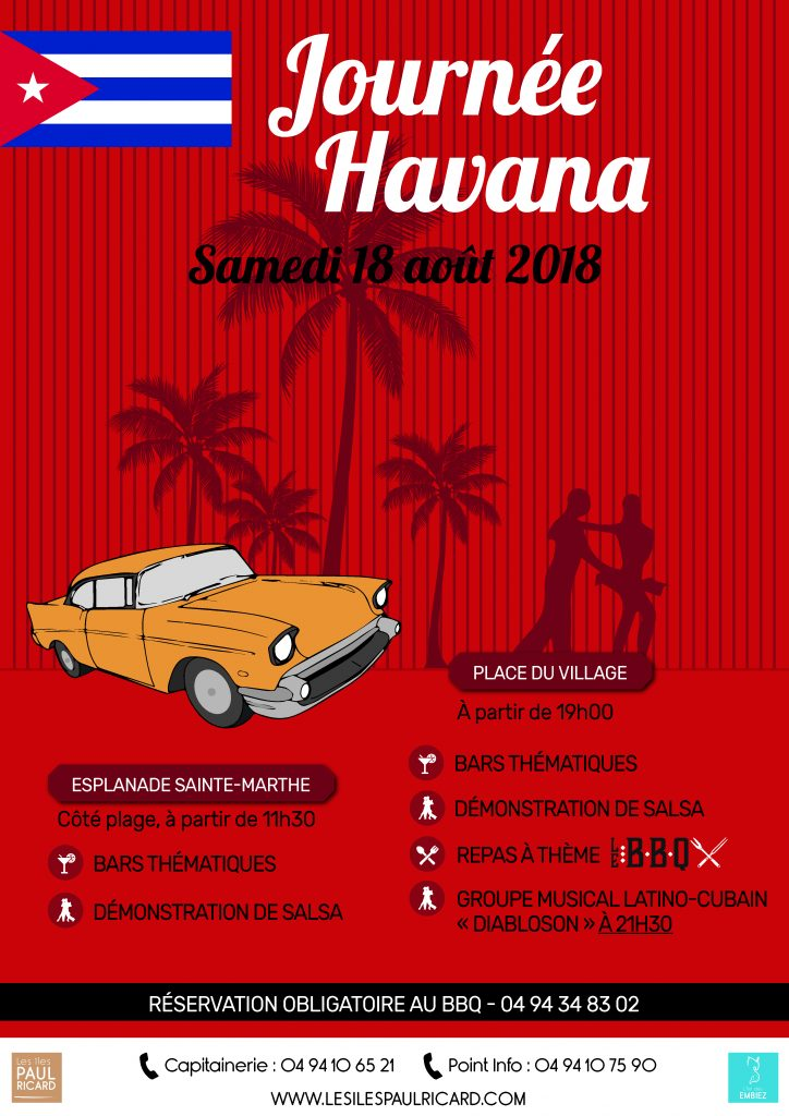 Journée et soirée sur le thème Havana sur l'île des Embiez, salsa et ateliers cocktails