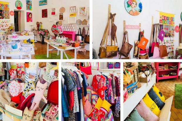 Collectif Les Fées Mer à la boutique jaune du village des créateurs de Bendor