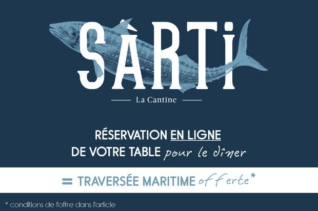 Offre Dîner + Traversée offerte au restaurant Sàrti sur l'île des Embiez