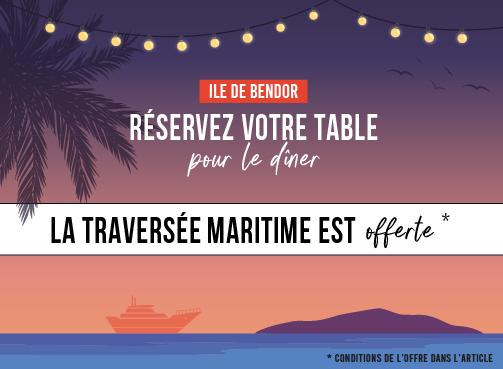 Réservez votre table pour le dîner, la traversée maritime sera offerte